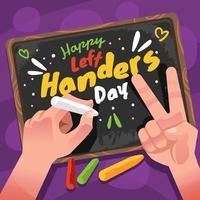Chalk Drawing Left Handers Celebration Day vector