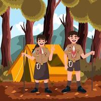 Pramuka Scout Fun Camp Forest vector