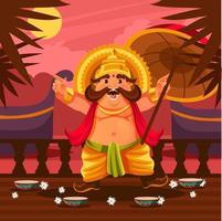 King Mahabali at Onam Festival vector