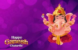 Happy Ganesh Chaturthi Background in Purple vector
