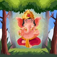 Peacefull Glow Ganesh Chaturthi in a Forest vector