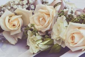 Bouquet of roses and flowers used for a wedding photo
