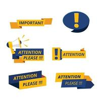 Attention badges important messages notice banners announcement vector