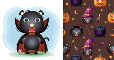 Un lindo gato negro con disfraz de Drácula patrón sin costuras de halloween vector