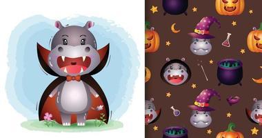 Un lindo hipopótamo con disfraz de Drácula patrón sin costuras de halloween vector