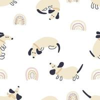 Pastel colored vector seamless pattern of dachshunds and rainbows