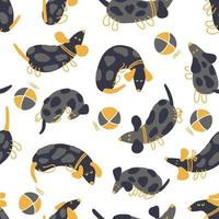 Hand drawn seamless pattern of playing spotted dachshunds and balls vector