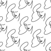 girl face one line seamless pattern stylized vector