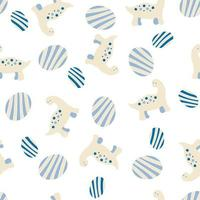 Hand drawn vector seamless pattern of dinosaurs and striped eggs