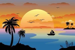 Sunset landscape background vector illustration