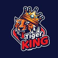 The King Tiger Mascot With Crown On Top Head vector