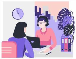Flat style illustration. Consultation, employment, interview. Office vector