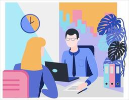 Flat style illustration. Consultation, employment, interview. vector