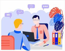 WebFlat style illustration. Consultation, employment, interview vector