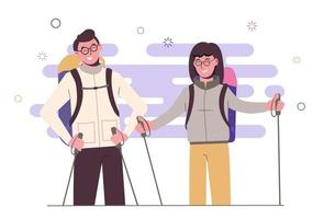 WebGirl with a guy travel with backpacks. Travelers outdoor vector