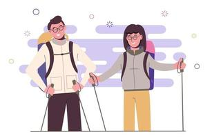 Girl with a guy travel with backpacks. vector
