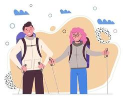 Girl with a guy travel with backpacks. Travelers outdoor. Adventures. vector