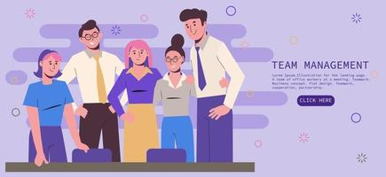 Illustration for the landing page. A team of office workers vector