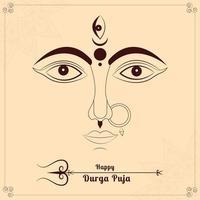 New Durga Face in Happy Durga Puja Subh Navratri  with Trishul vector