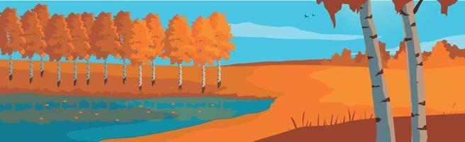 Panoramic landscape autumn birch grove and blue lake - Vector