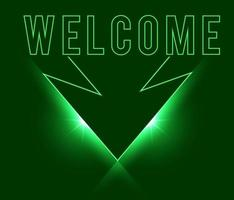 Welcome sign dark green with light neon effect shiny glow eps vector