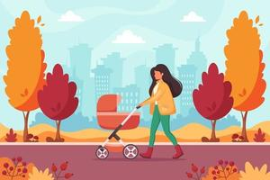 Woman walking with baby carriage in autumn park. Outdoor activity. vector