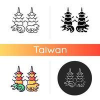 Dragon and tiger pagodas icon vector