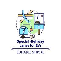 Electric vehicles special highway lanes concept icon. vector