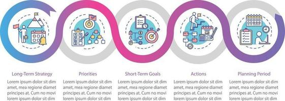 Long-term strategy vector infographic template