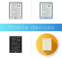 Handheld e-reader icon vector