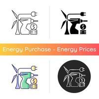 Energy equipment installation price icon vector