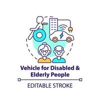 Disabled and eldery people vehicle concept icon. vector