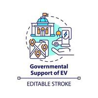 Electric vehicles governmental support concept icon. vector