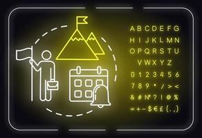 Long-term strategy neon light concept icon vector
