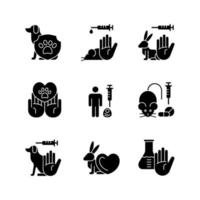 Stop animal testing black glyph icons set on white space vector