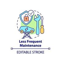 Electric vehicles less frequent maintenance concept icon. vector