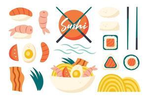 Asian food Sushi fresh fish shrimp rice rolls ramen noodles vegetable vector