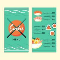 Asian food restaurant menu template Sushi fresh fish rolls sets ramen vector