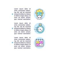 Short-term, long-term intern programs concept line icons with text vector