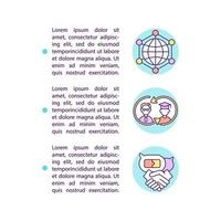 Global colleagues network concept line icons with text vector