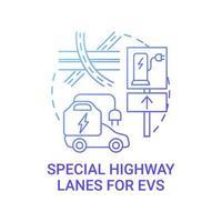 EV special highway lanes concept icon. vector