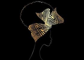 Portrait African woman wears bandana for curly hairstyles vector