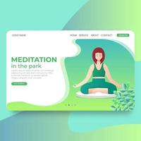 Woman meditating on nature. landing page Concept illustration for yoga vector