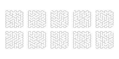 vector illustration of set of 10 mazes of hexagons for kids