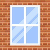 vector illustration. seamless background. red brick wall with window.
