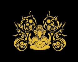 Ganesha ornament and pattern symbol vector