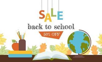 Back to school sale horizontal banner. Discount flyer vector