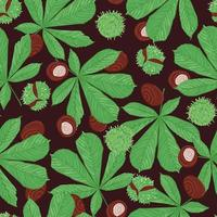 Seamless plant pattern with leaves and horse chestnut seed vector