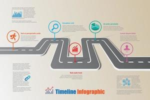 Business roadmap timeline infographic template with pointer vector
