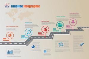 Plantilla de infografía de línea de tiempo de hoja de ruta empresarial con puntero vector